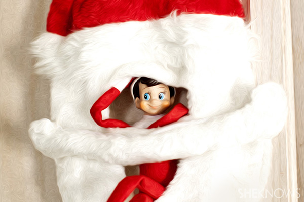 Elf on the Shelf idea 9: Elfie Rojo pretending to be Santa