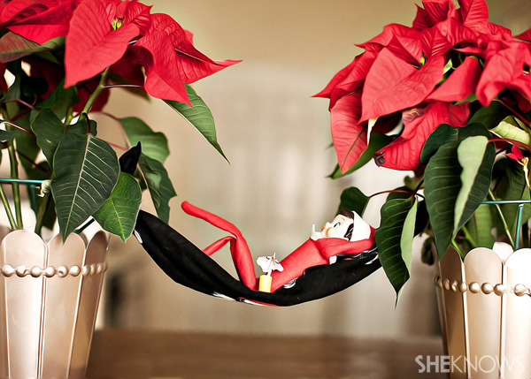Elf on the Shelf idea 12: Elfie Rojo takes a nap