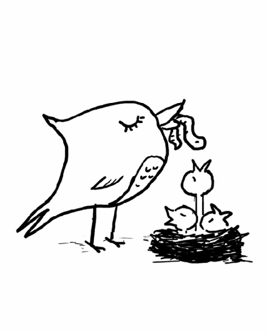Bird and chicks coloring page