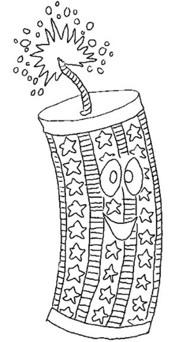 Fourth of July firecracker coloring page printable