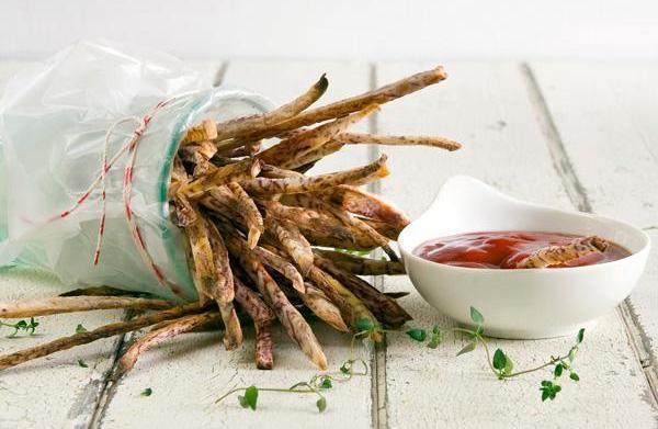 Taro fries recipe with sriracha ketchup