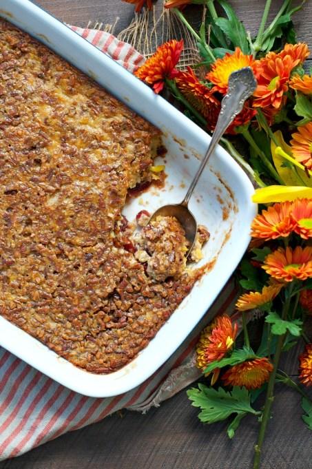Cranberry-pecan corn pudding