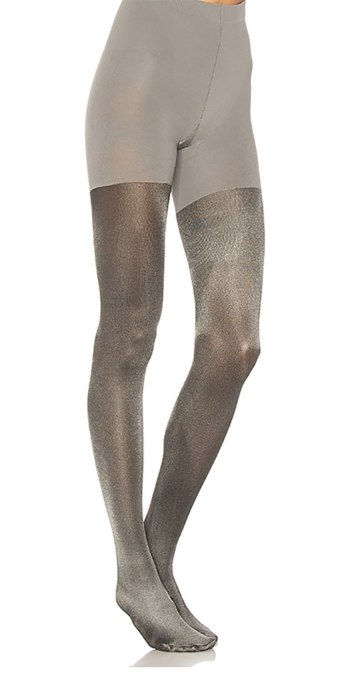 Trendy ways to wear tights | Metallic Spanx tights