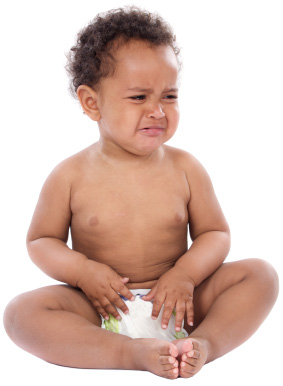 Isolated baby in diaper