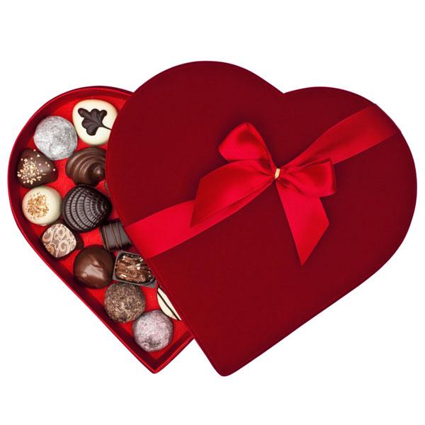 Isolated box of Valentine's day chocolates