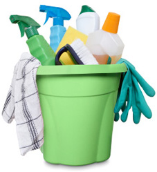 Isolated cleaning products in bucket