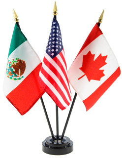 American, Mexican, Canadian Flag