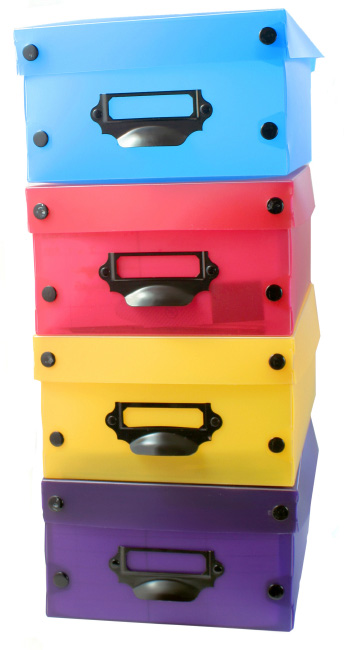 Stacked storage boxes