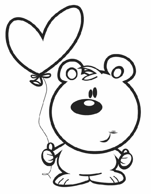 Valentine's Day Coloring Pages: Bear