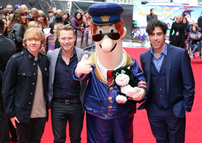Rupert Grint on the red carpet for the Postman Pat film.