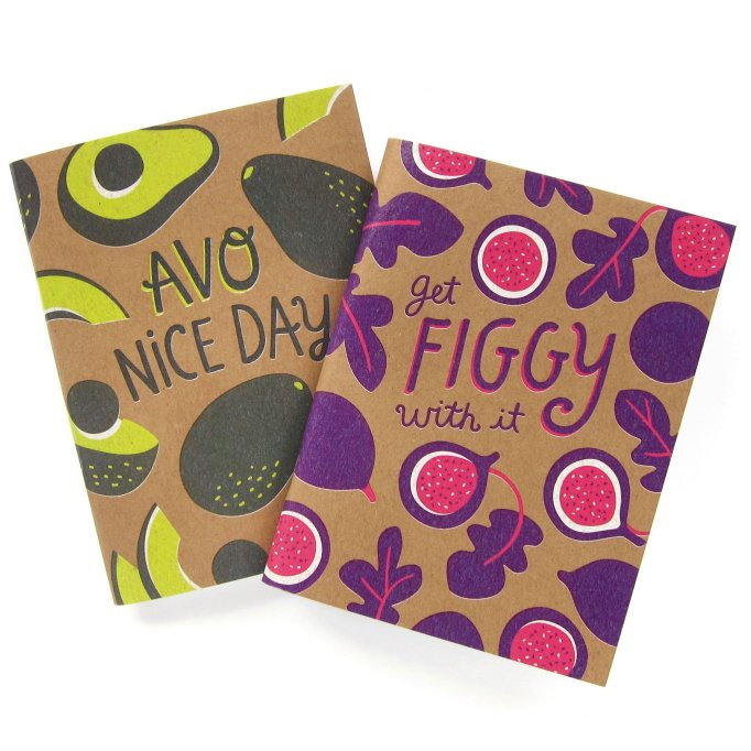 Avocado and Fig Notebooks Pair