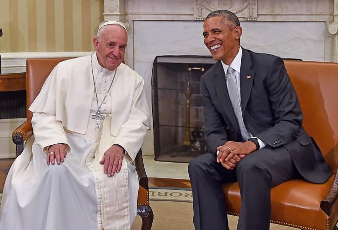U.S. President Barack Obama speaks with Pope Francis