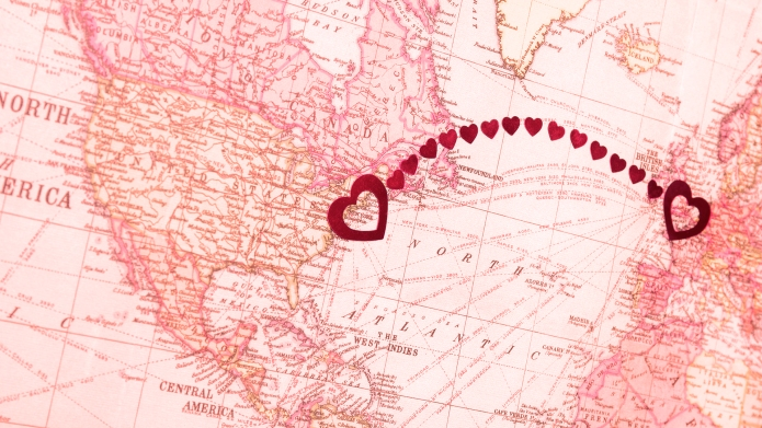 Hearts connecting America to Europe (New