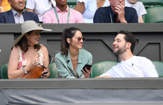 Cara McConnell, Olivia Munn and Alexis Ohanian attend day five of the Wimbledon Tennis Championships at the All England Lawn Tennis and Croquet Club