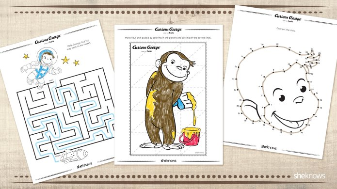 10 'Curious George' activity pages every