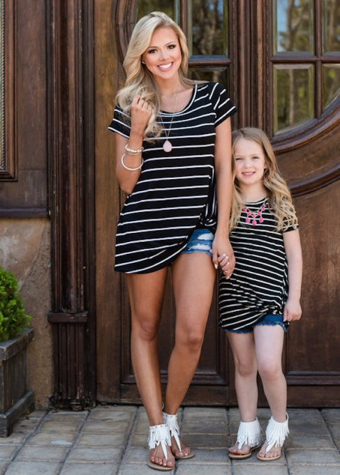 Turn heads in these super-cute matching mom-daughter outfits.