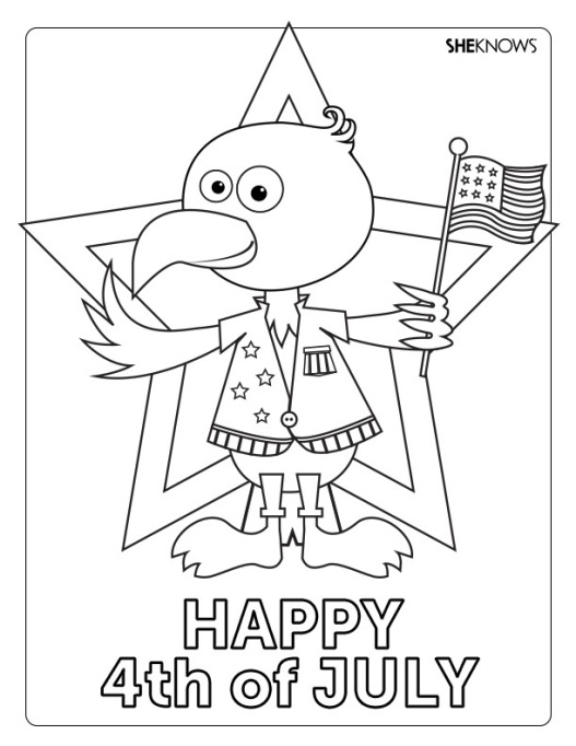 Fourth of July eagle coloring page printable
