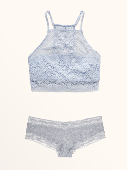 Best Lingerie to Wear With Every Summer Outfit | Lace Hi-Neck Bralette & Lace-Waist Cheeky Panty