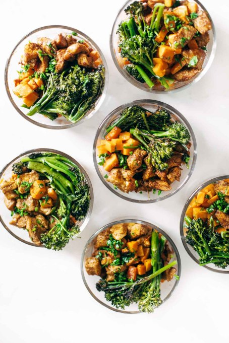 Chicken and sweet potato bowls