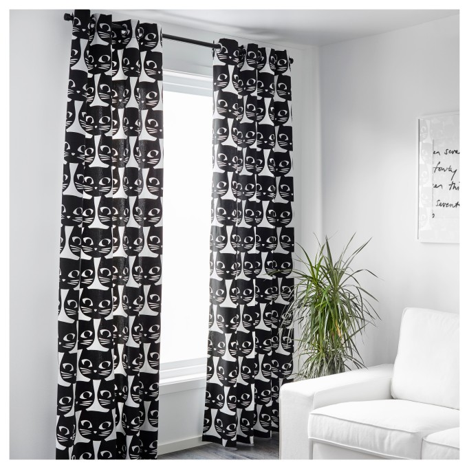 Halloween Decor at IKEA: Cat curtains add a quirky flair to your home