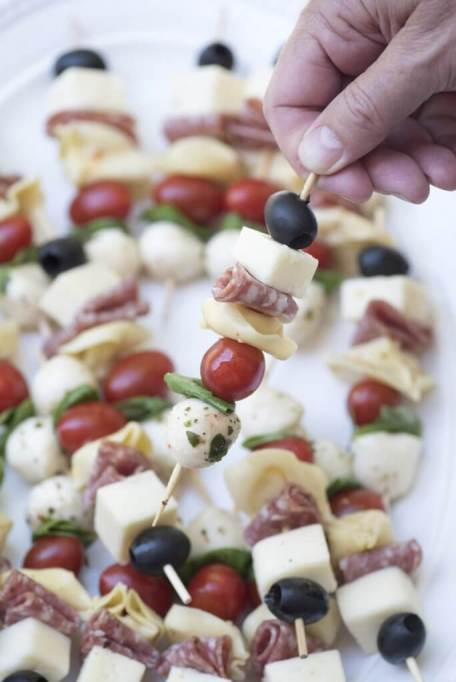 Classy Potluck Ideas: You'll want to make extras of these addictive antipasto skewers