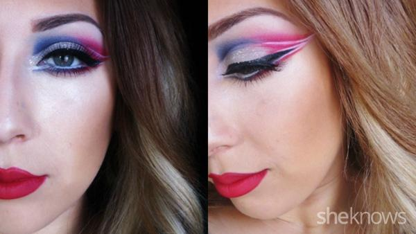 New England Patriots eye makeup tutorial