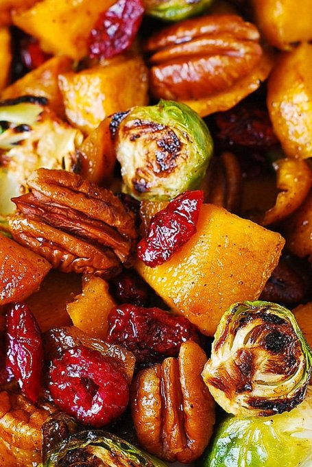 Yummy Winter Salads You'll Actually Crave   Roasted Brussels Sprouts Cinnamon Butternut Squash Pecans and Cranberries