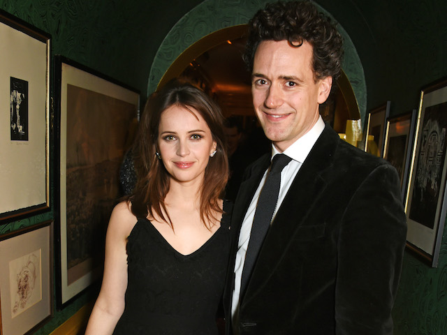 Felicity Jones and Charles Guard attend a pre BAFTA party