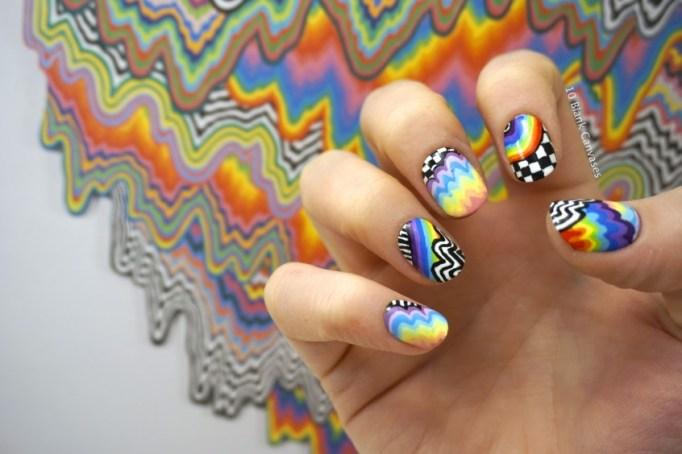 Drippy rainbow nail art