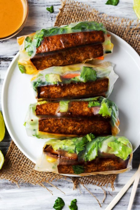 Teriyaki Tofu Spring Rolls with Sriracha Peanut Sauce
