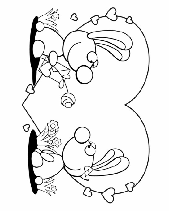 Valentine's Day Coloring Pages: Bunnies in love