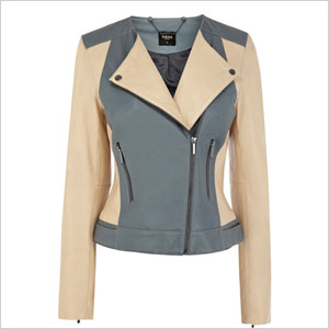 Oasis colorblock leather biker jacket