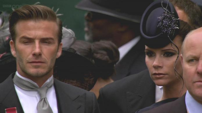 Victoria and David Beckham arrive to