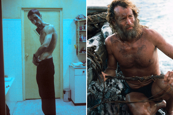 Christian Bale in The Machinist, Tom Hanks in Cast Away
