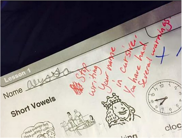 Down With Homework Teachers Viral Note >> Teacher Writes Angry Note On Kid S Test For Writing In Cursive