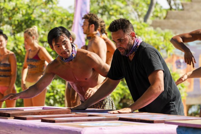 James Lim competes in challenge with Domenick Abbate on Survivor: Ghost Island