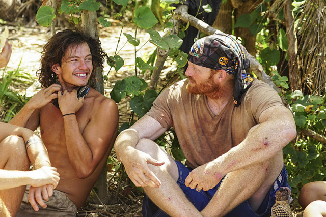 Jay Starrett with Chris Hammons at camp on Survivor: Millennials Vs. Gen-X