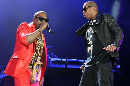 Jay-Z and Kanye West performing on stage