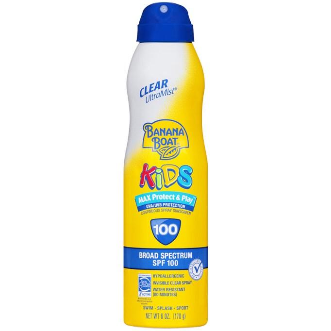 Banana Boat Kids continuous spray sunscreen, SPF 100