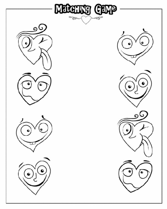 Valentine's Day Coloring Pages: Heart match up