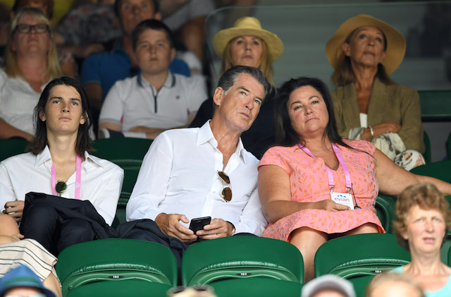 Dylan Brosnan, Pierce Brosnan and Keely Shaye Smith attend day 11 of the Wimbledon Tennis Championships