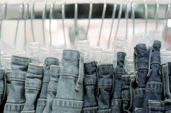Jeans on rack