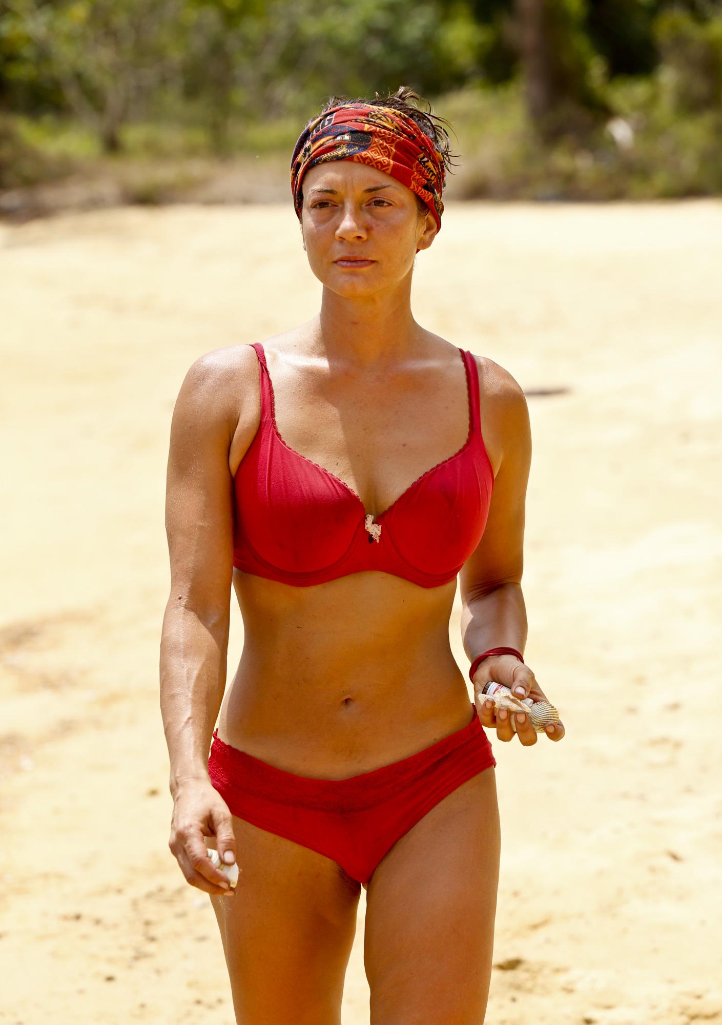Jennifer Lanzetti at Brawn tribe's camp on Survivor: Kaoh Rong