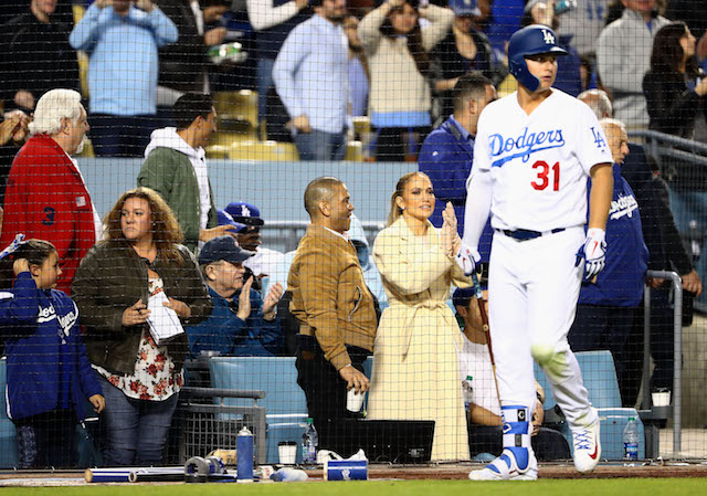 Jennifer Lopez at a Dodgers baseball game on April 1