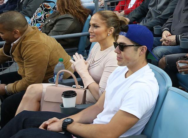 Jennifer Lopez at a Dodgers baseball game April 2018