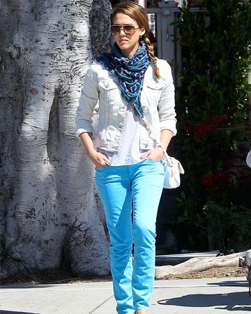 Jessica Alba wearing colored denim