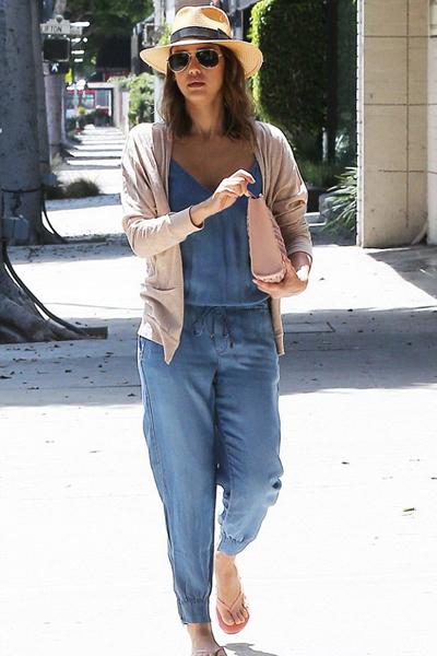 Jessica Alba chambray jumpsuit
