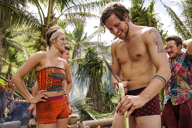 Figgy and Taylor Stocker on Millennials tribe during Survivor: Millennials Vs. Gen-X