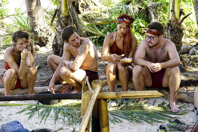 Figgy, Taylor Stocker, Mari Takahashi and Zeke Smith on Survivor: Millennials Vs. Gen-X
