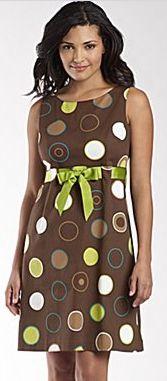 Jessica Howard Sundress w/Ribbon - Brown Multi Dot